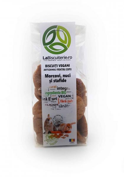 Biscuiți vegani fără zahăr pentru copii cu morcovi, nuci și stafide 140 gr [0]
