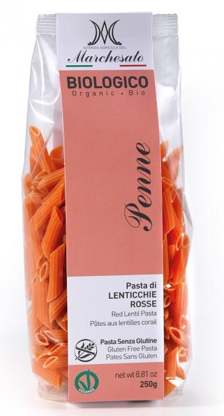 Penne din linte rosie bio fara gluten 250g Marchesato [0]