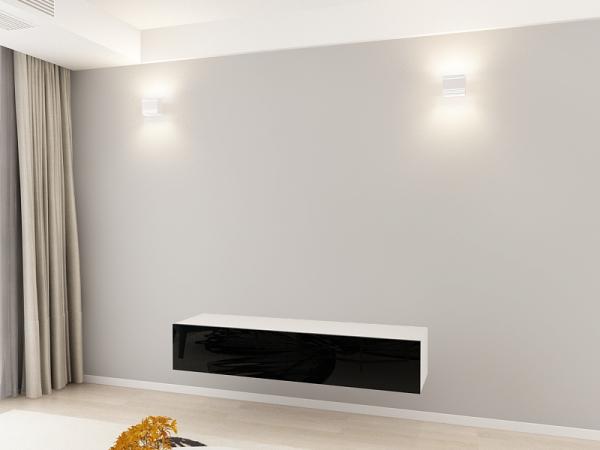 Comoda TV 160 Alb cu usi Negre 1
