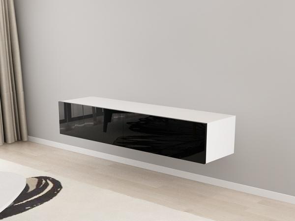 Comoda TV 160 Alb cu usi Negre 2