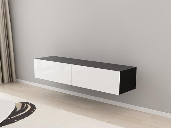 Comoda TV 160 Negru cu usi Albe 2