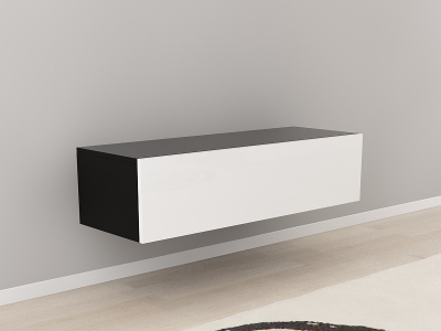 Comoda TV 120 Negru cu usa Alba0
