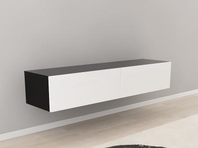 Comoda TV 160 Negru cu usi Albe0
