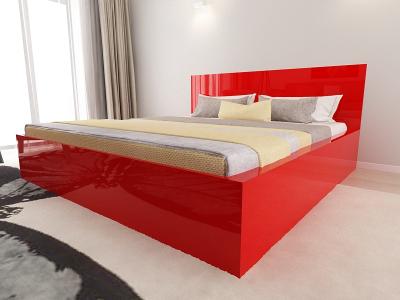 Set Mobila Dormitor COMO 3 MDF Rosu3