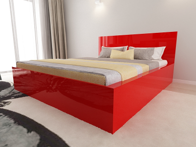Set Mobila Dormitor COMO 2 MDF Rosu3