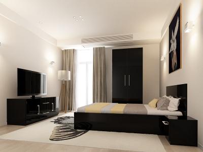 Set Mobila Dormitor COMO 1 MDF Negru0