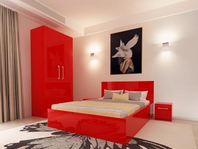 Set Mobila Dormitor COMO 1 MDF Rosu1