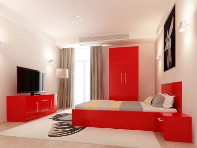 Set Mobila Dormitor COMO 1 MDF Rosu0