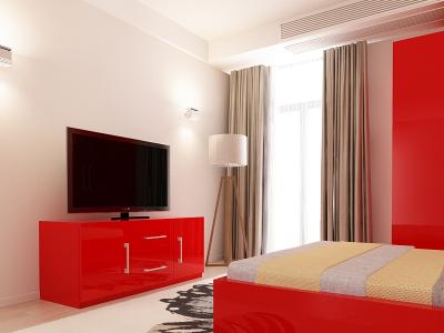 Set Mobila Dormitor COMO 1 MDF Rosu2
