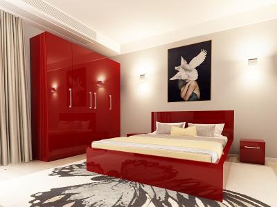 Set Mobila Dormitor COMO 2 MDF Bordo1