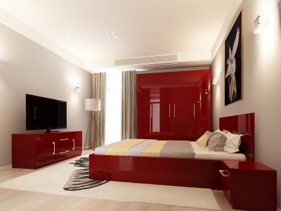 Set Mobila Dormitor COMO 2 MDF Bordo0