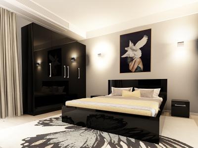 Set Mobila Dormitor COMO 2 MDF Negru1