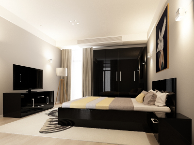 Set Mobila Dormitor COMO 2 MDF Negru0