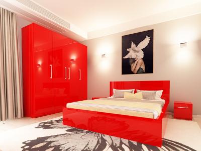 Set Mobila Dormitor COMO 2 MDF Rosu1