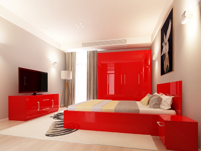 Set Mobila Dormitor COMO 2 MDF Rosu0