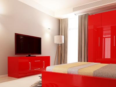 Set Mobila Dormitor COMO 2 MDF Rosu2