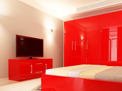 Set Mobila Dormitor COMO 3 MDF Rosu2