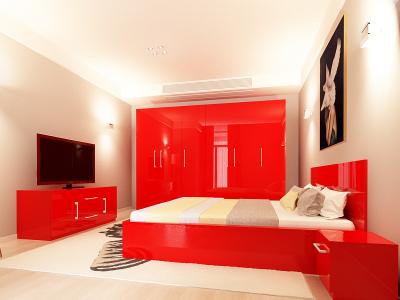 Set Mobila Dormitor COMO 3 MDF Rosu0