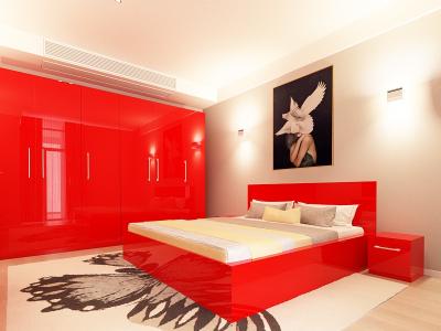 Set Mobila Dormitor COMO 3 MDF Rosu1