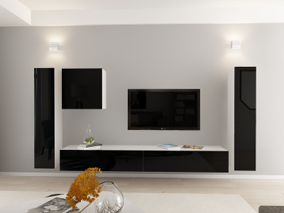 Set Mobila Living Quadro 1 MDF  Alb cu usi Negre0