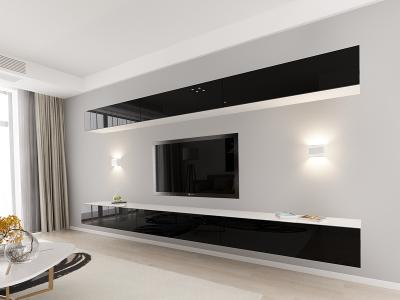 Set Mobila Living Quadro 13 MDF  Alb cu usi Negre2