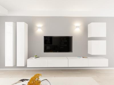 Set Mobila Living Quadro 14 MDF  Alb0
