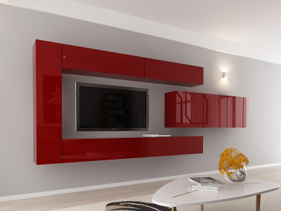 Set Mobila Living Quadro 15 MDF Bordo1