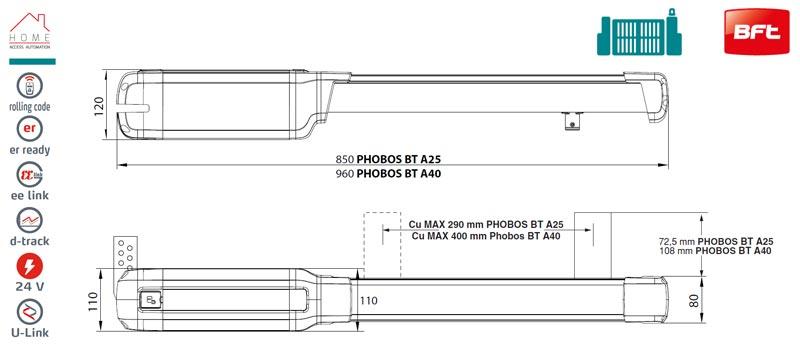 Motor porti batante, BFT Phobos BT A40, 4m/canat, 500Kg/poarta | I-Systems