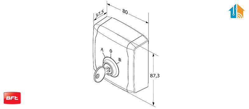 Dimensiune Selector cu cheie, BFT, Q.BO KEY WM, pentru automatizari, 24-230V | I-Systems