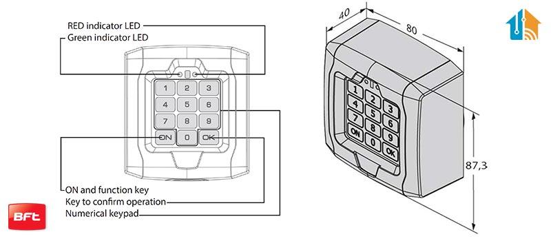 Dimensiune Selector digital cu tastatura, BFT, Q.BO TOUCH pentru automatizari porti, control acces | I-Systems
