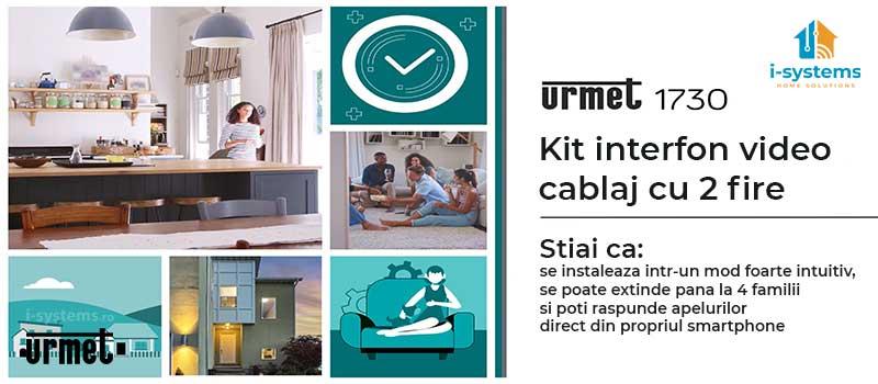 Kit videointerfon, Urmet, 1730501 pentru un apartament, cablaj 2 fire, modul CallMe predispus  I-Systems desc-1