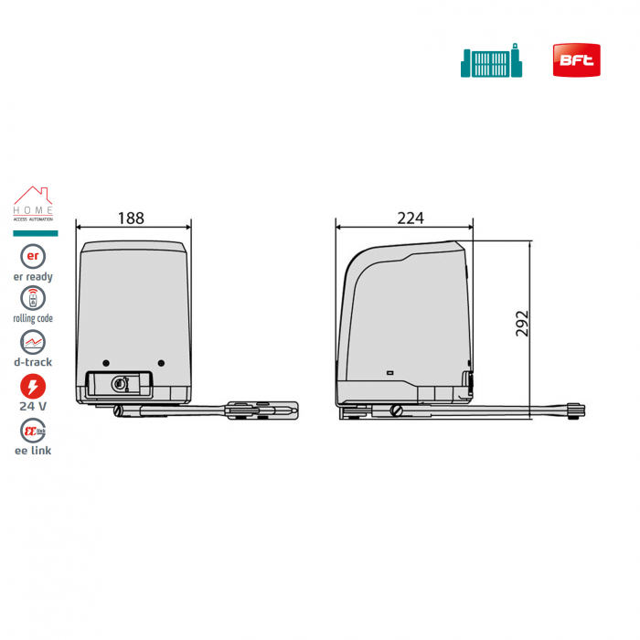 Kit automatizare porti batante, BFT, Virgo Smart BT A20, 2m/canat, 200Kg/poarta, 24V | I-Systems [3]