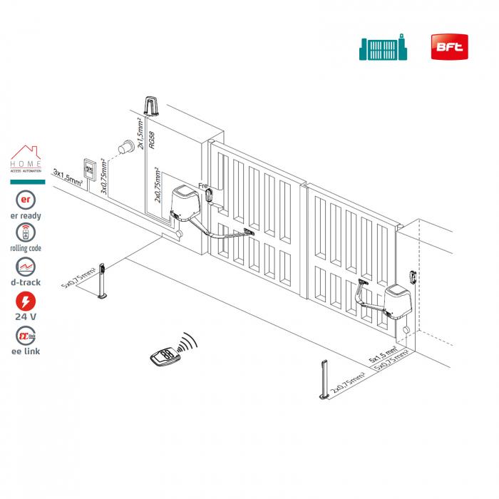 Kit automatizare porti batante, BFT, Virgo Smart BT A20, 2m/canat, 200Kg/poarta, 24V | I-Systems [2]