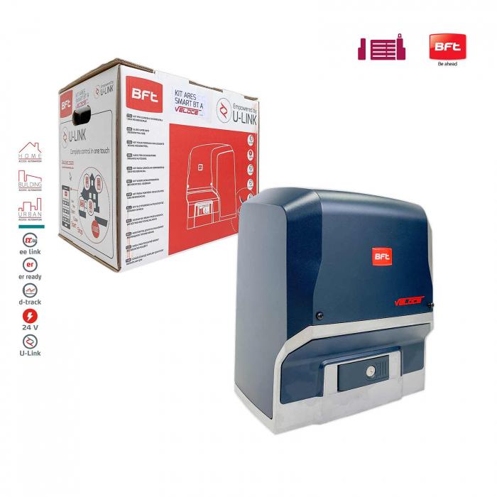 Kit automatizare porti culisante, BFT, Ares Veloce BT A500, 500Kg/poarta, 4m cremaliera, 24V | I-Systems [1]