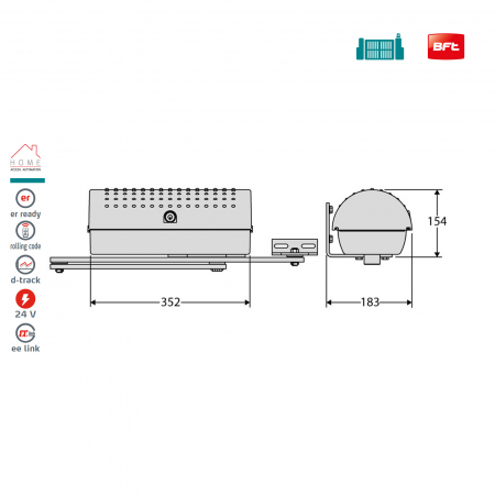 Kit automatizare porti batante, BFT, Igea BT, 2.5m/canat, 250Kg/poarta, 24V   I-Systems [2]