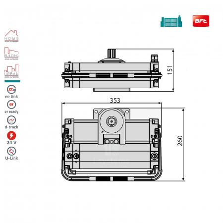 Motor hidraulic automatizare porti batante, BFT, SUB BT, 800Kg/canat, 24V   I-Systems [1]