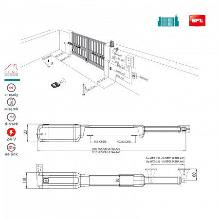 Kit automatizare porti batante, BFT, Kustos Ultra BT A25, 2.5/canat, 400Kg/poarta | I-Systems [8]