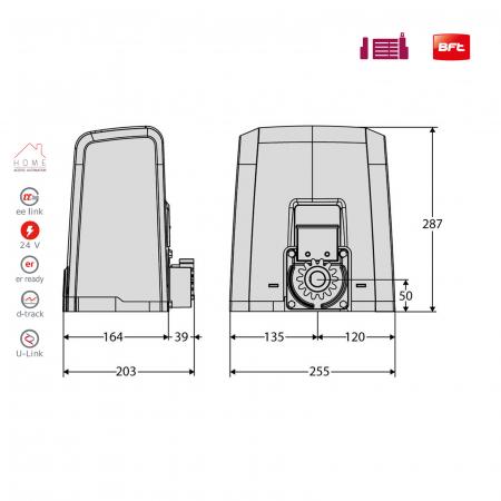 Kit automatizare porti culisante, BFT, Deimos ULTRA BT A600, 600Kg/poarta, U-Link | I-Systems [4]