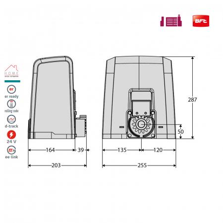 Kit automatizare porti culisante, BFT, Deimos BT A600, 600Kg/poarta, 4m cremaliera | I-Systems [3]