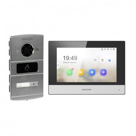 "Kit videointerfon pentru vila Hikvision IP DS-KV8102-IM DS-KH6320-WTE1, post exterior Aluminiu, monitor 7"" Touch-Screen | I-Systems [0]"