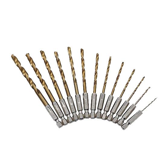 Set 13 burghie, coada hexagonala, otel, 1.5-6.5 mm dimensiune, argintii [0]