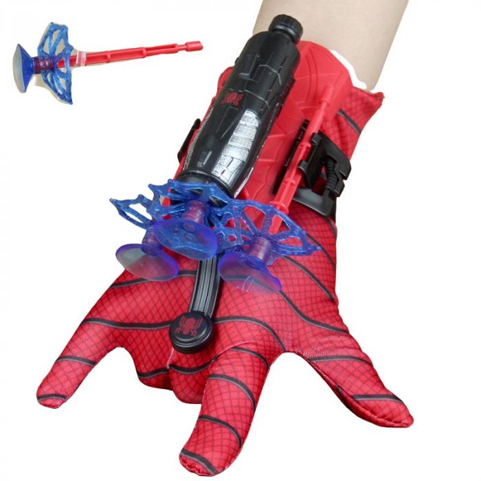 Set costum cu muschi Spiderman, 3-5 ani, manusa cu lansator si masca plastic LED, rosu [5]