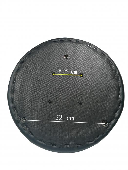 Taburet pentru scaun rotund, piele ecologica, 34 cm, negru [2]
