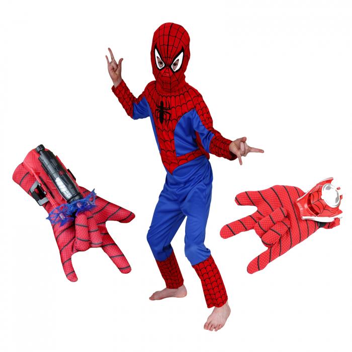 Set costum Spiderman, manusa cu ventuze si manusa cu discuri [0]