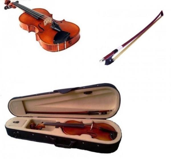Vioara clasica din lemn 1/4 toc inclus + set corzi cadou 1