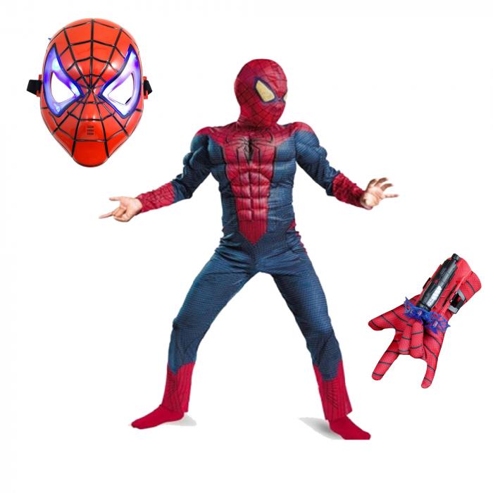 Set costum cu muschi Spiderman, 3-5 ani, manusa cu lansator si masca plastic LED, rosu [0]