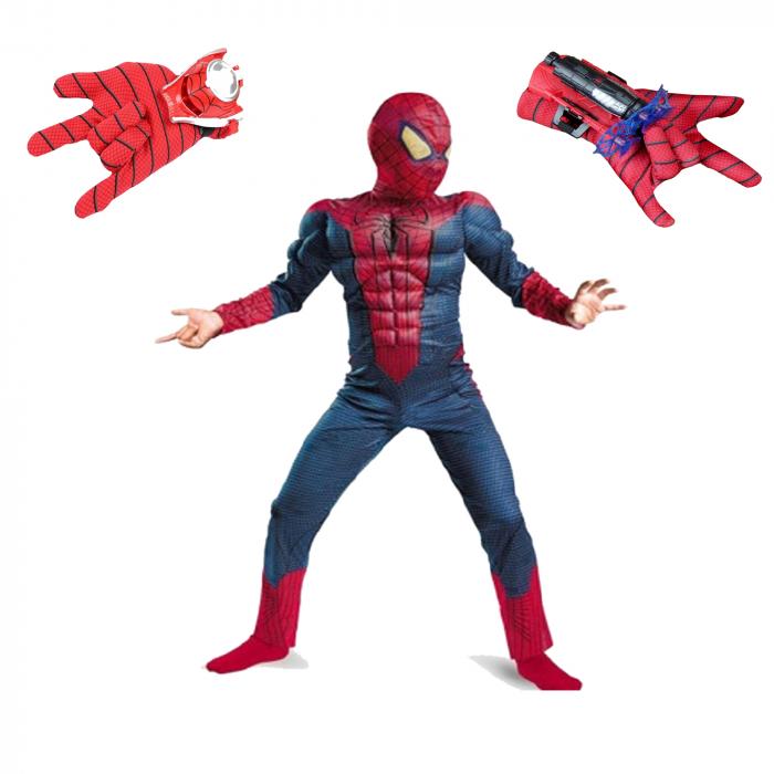 Set costum Spiderman cu muschi si 2 lansatoare, rosu [0]