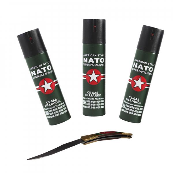 Set 3 sprayuri NATO, cadou briceag model spaniol 19 cm 0