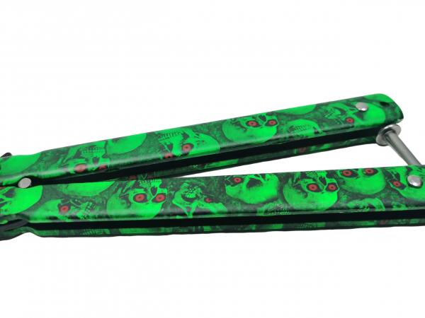 Cutit, Briceag fluture, Butterfly, Happy Green Skulls, pentru antrenament, 22 cm 3