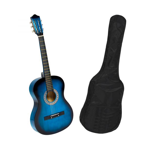 Chitara clasica din lemn 95 cm, albastra, husa nylon cadou 0
